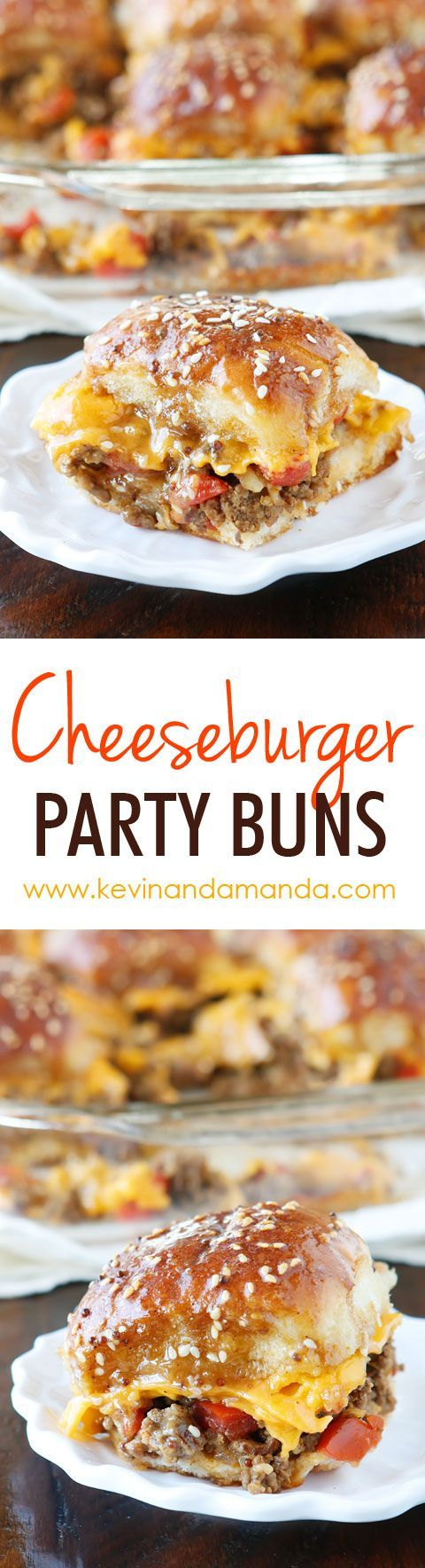 These Cheesy Party Burgers are so fun! Great to serve to a crowd or just to make dinner fun. Perfect for parties because you can