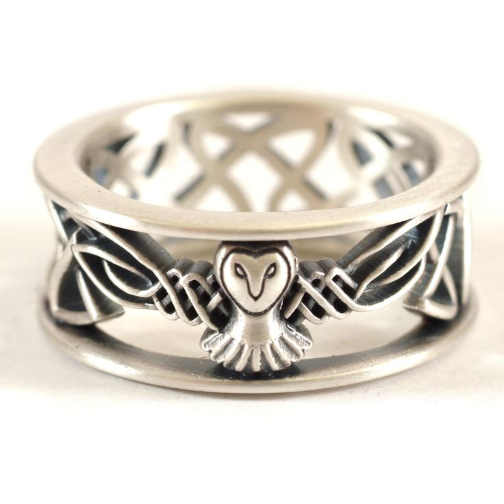 Sterling Silver Owl Wedding Band, Celtic Owl Ring, Mens Wedding Band, Irish… Plus