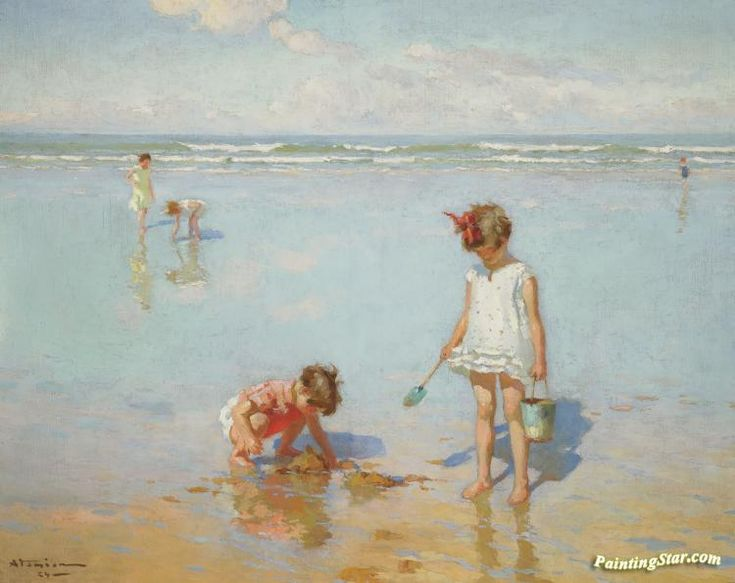 Children by the sea Artwork by Charles Atamian Hand-painted and Art Prints on canvas for sale,you can custom the size and frame