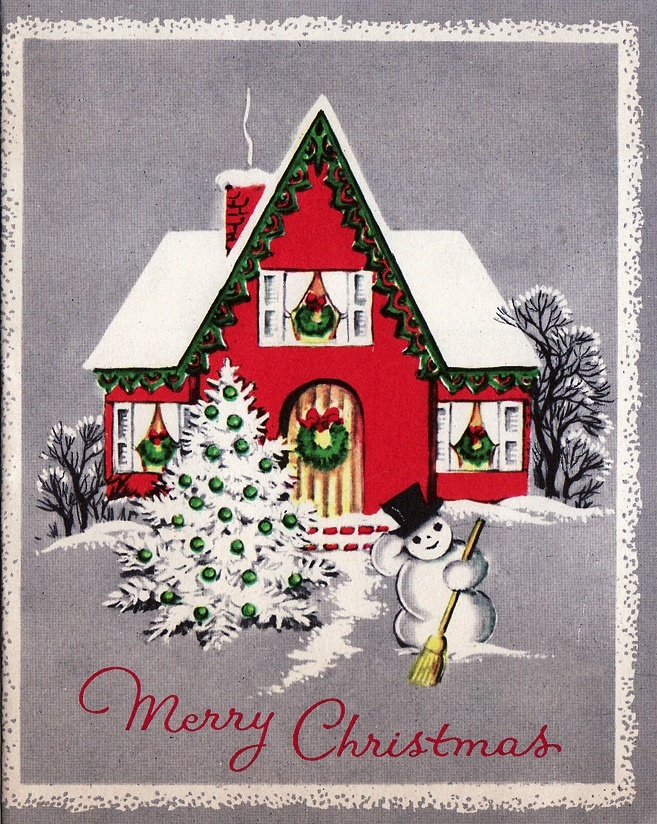Christmas home PLUS a snowman?  I'm sold.: Christmascards, Vintage Christmas Cards, Christmas Cards Holiday, Christmas Decor, Christmas Vintage, Christmas Houses, Christmas Cards2, Christmas Cardholiday, Vintage Cards