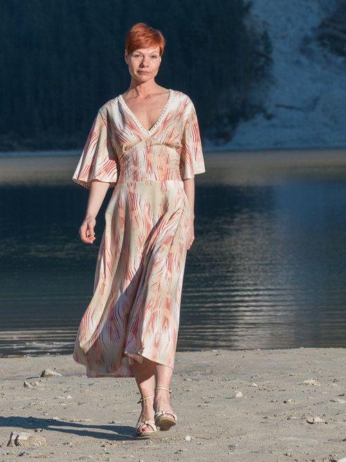 Ethno Kleid, Boho Kleid, Sommerkleid, Hippie Kleid, Beige, Orange Kleid mit Kimonoärmeln, Lange sommerkleid, Maxi Kleid, Kleid nach Maaß von ROTETULPE auf Etsy