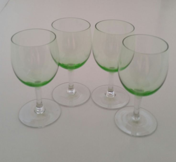 Green Depression Wine Cordials/Green Depression Wine Glasses/Green Depression Sherry Glasses/Green Depression Liquor Glasses/Set of 4 by NatomisTreasures on Etsy