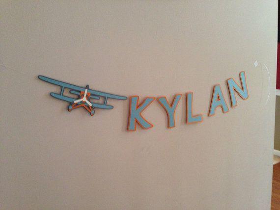 Vintage airplane name banner vintage airplane by HandmadeByVee, $16.00