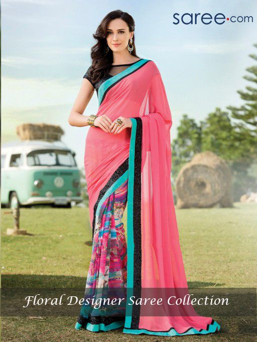 PINK AND MULTI COLOR PURE GEORGETTE SAREE WITH SEQUINS WORK
