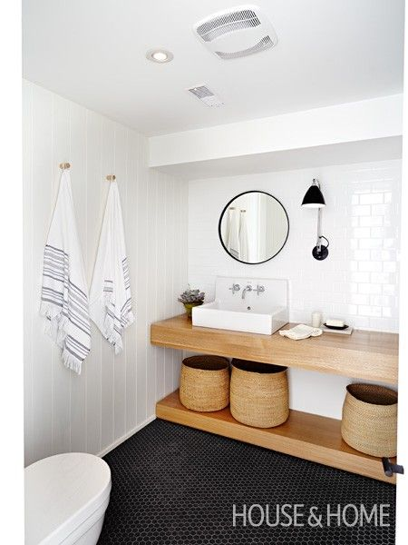 White panelling + subway tiles + grey hex tiles + timber vanity = Perfection