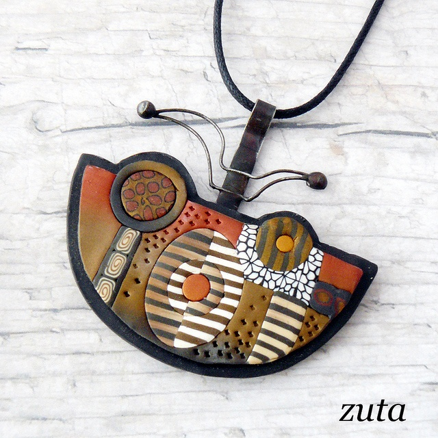 Pendant by Verundela, via FlickrPc Artists, Necklaces Inspiration, Art Jewels, Polymère, Art Jewelry, L Art, Polymer Clay, Jewelry Polymer, Clay Crafts