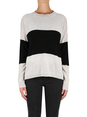 Hyperluxe Stripes Sweater in Grey/ Black