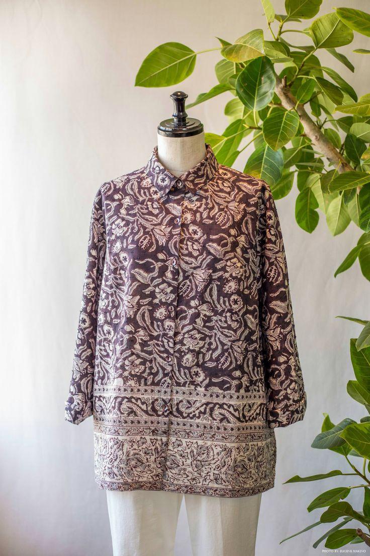 GRAPE Motomachi / Block Print Blouse  #blockprint #cotton #dobbyweave #blouse #grapemotomachi