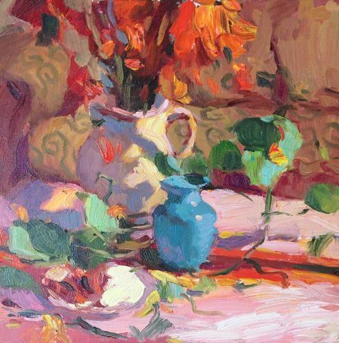 Michael Steirnagle ~ Aqua Vase, oil on canvas, 12x12 in.