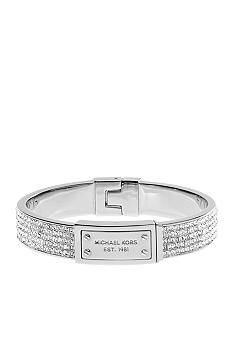 Michael Kors Jewelry Silver and Stone Logo Plaque Hinge Bangle #Belk # Accessories