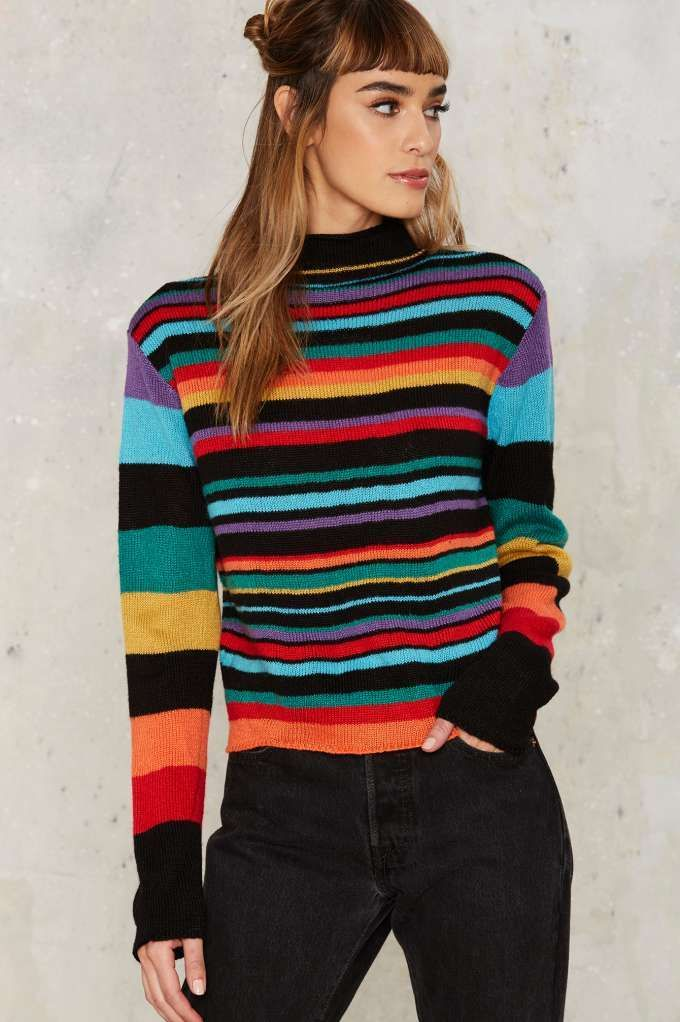 Nasty Gal Blinded by Rainbows Striped Sweater - Clothes | Best Sellers | Knits | Pullover | Tops