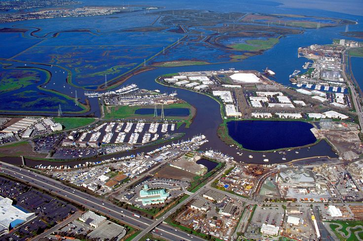 Aerial view of the mouth of Redwood Creek on San Francisco Bay at the port of Redwood City, California