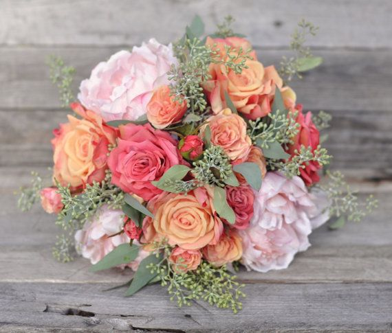 Coral Rose Bride Bouquet Coral Rose Bouquet by Hollysflowershoppe