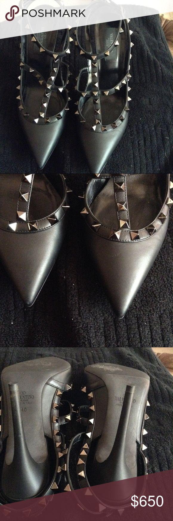 Valentino Rockstud Black Gently used beautiful signature shoes. No dust bag or box. Kept stored Valentino Shoes Heels