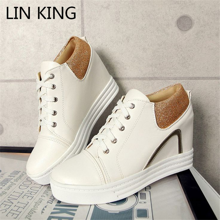 LIN KING Women Casual Shoes PU Solid Lace Up Height Increase Low Top Wedges Ankle Shoes Massage Round Toe Leisure Short Shoes