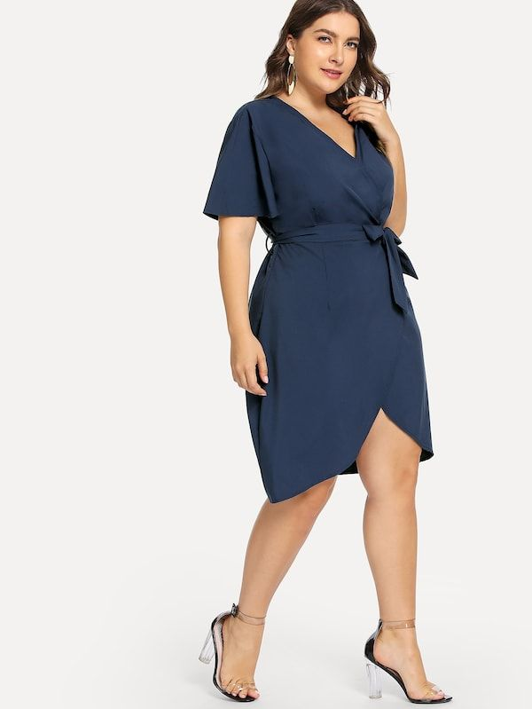 94837d8d666 Plus Curved Hem Surplice Wrap Dress