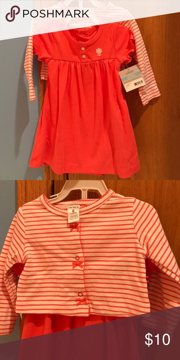 Carters dress with sweater Two piece Carters dress with matching sweater. Size 6 months. Still on hanger. New with tags. Carter's Dresses Casual