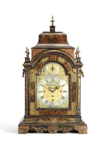 A third quarter of the 18th century laquered quarter chiming musical bracket clock Robert and Peter Higgs, London