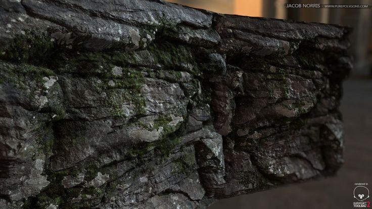 Mossy Rock Wall Shader, Jacob Norris on ArtStation at https://www.artstation.com/artwork/L2NyK