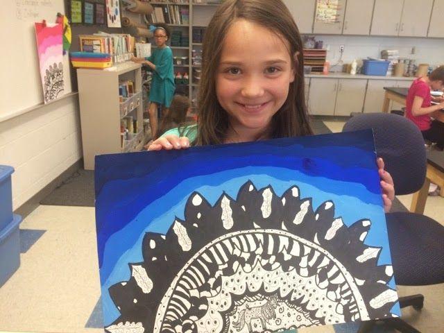 Jamestown Elementary Art Blog: Fifth-grade Georgia O'Keeffe Zentangles with Value!