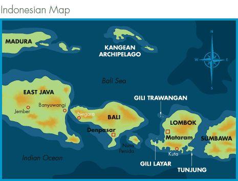 mapas islas Gili Trawangan, Gili Air y Gili Meno Indonesia
