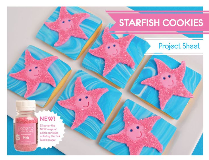 Inspired by Finding Nemo, these cute Starfish Cookies are easy to make & taste delicious! We've used Satin Ice Fondant & Roberts Confectionery Pink Sanding Sugar. Full recipe sheet available from our website.