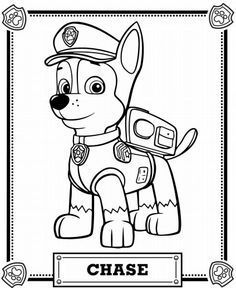 Dibujos para Colorear Infantil: Dibujos de Paw Patrol para colorear: Chase