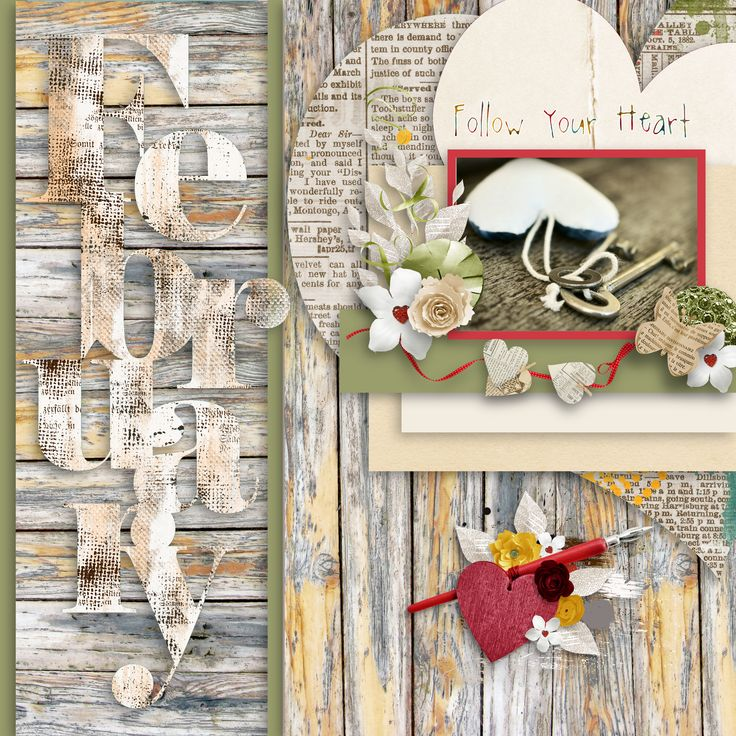 """template by Nom De Plume Digital Designs - BH """"A Love For Layout Templates"""", https://www.quirkygirldesigns.com/my-designs, kit """"Follow Your Heart"""" by BooLand Designs, photo Pixabay"""