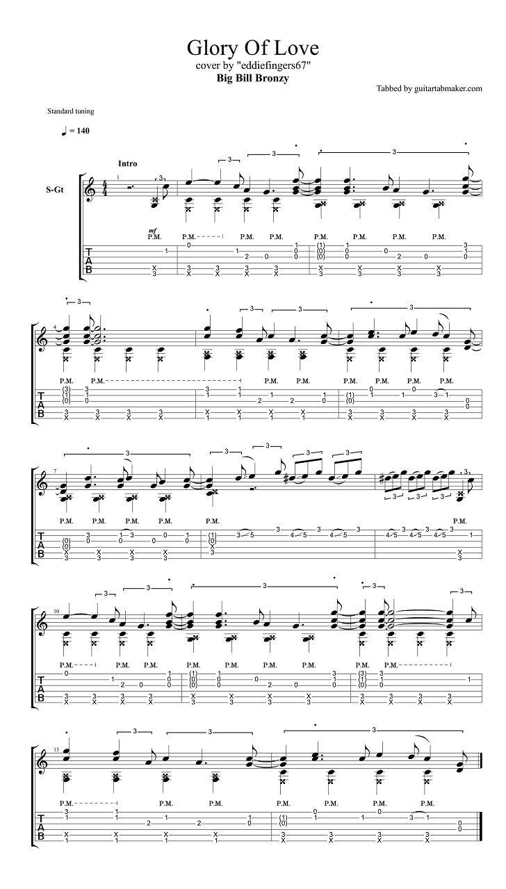 Big Bill Broonzy - Glory of Love acoustic fingerstyle guitar tabs - pdf guitar sheet music - guitar pro tab download