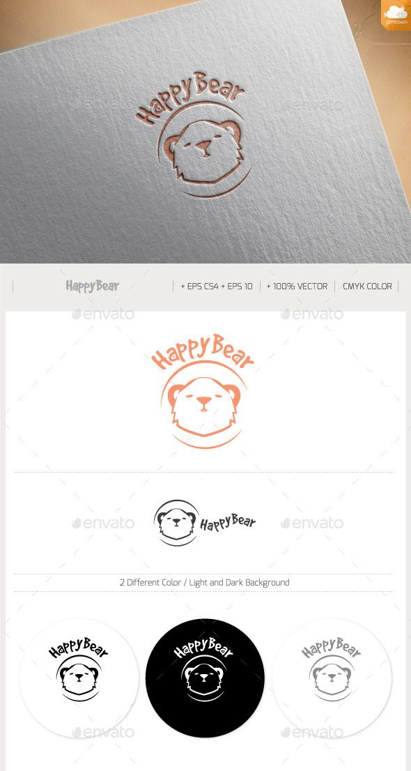 Happy Bear Logo Design Template Vector #logotype Download it here: http://graphicriver.net/item/happy-bear/11390106?s_rank=923?ref=nesto
