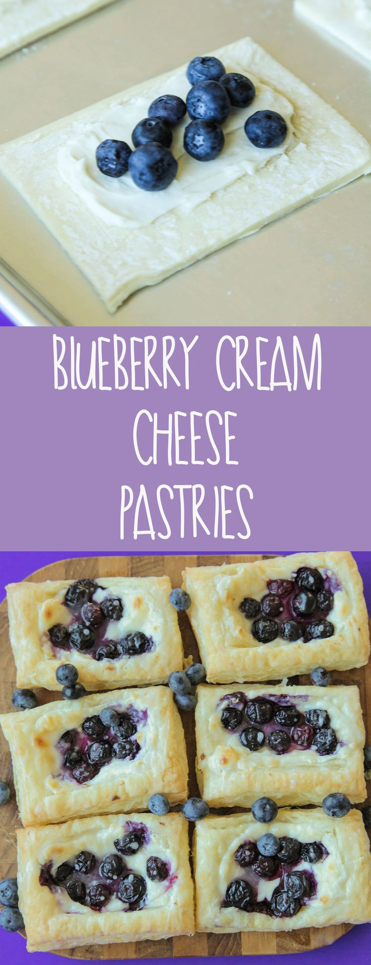 Blueberry Cream Cheese Pastry (Vegan) - These simple and delicious blueberry pastries will taste just like they came from a pastry shop but require just a few at home ingredients for a simple tasty treat.