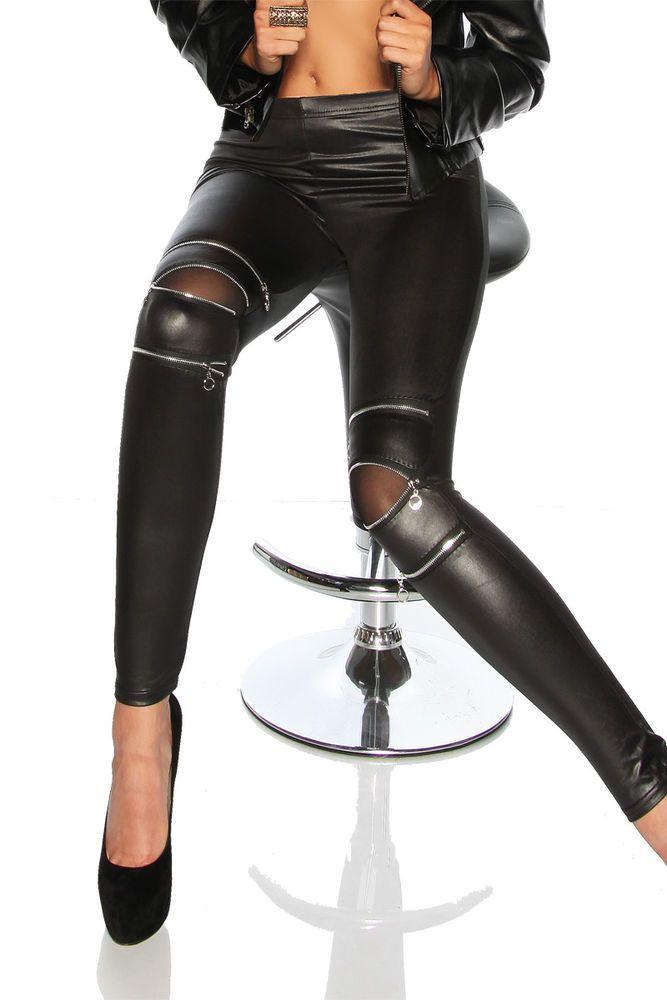 8c6f86a0065fdb LEGGINGS Donna Ecopelle Sexy Wetlook Lucidi Similpelle ANTRACITE Skinny  Fuseaux