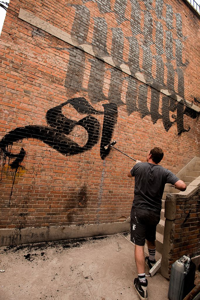 Calligraffiti by Niels Shoe Meulman - Broom and China ink on brick wall (18 x 30 ft) Dashilar, Beijing 2011