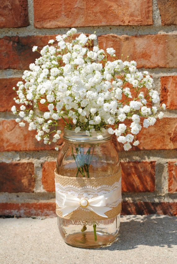 pictures of wedding centerpieces using mason jars%0A Interesting transposition of burlap and lace in a mason jar for flower  table centerpieces at a