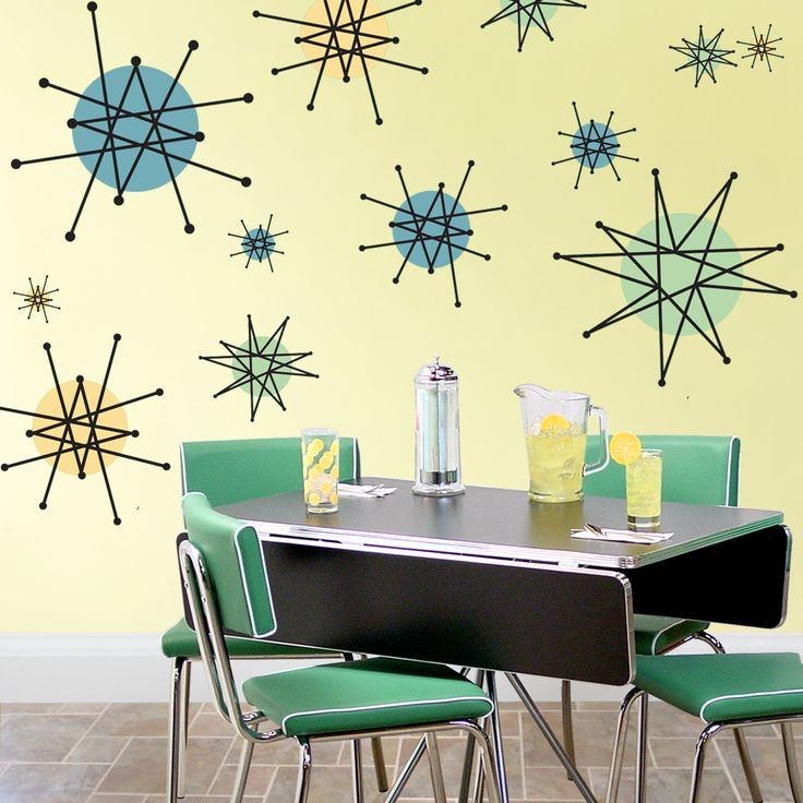 Atomic starburst 50s style wall decals sheet large retro for 1950s decoration