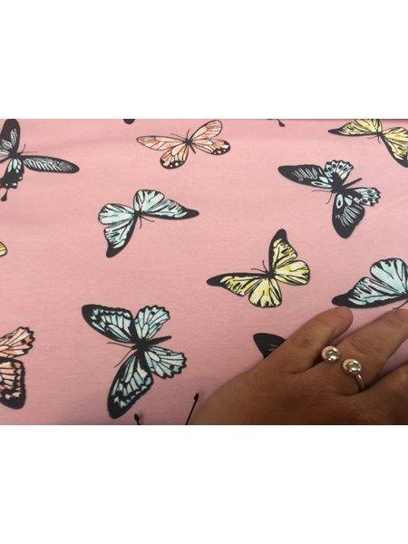 Bomuldsjersey - printet med smukke sommerfugle på blid rosa bund