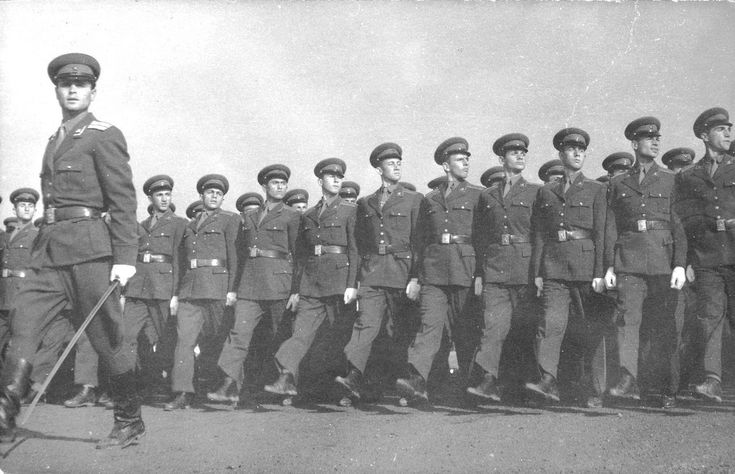 Officers of the Albanian People's Army on parade.