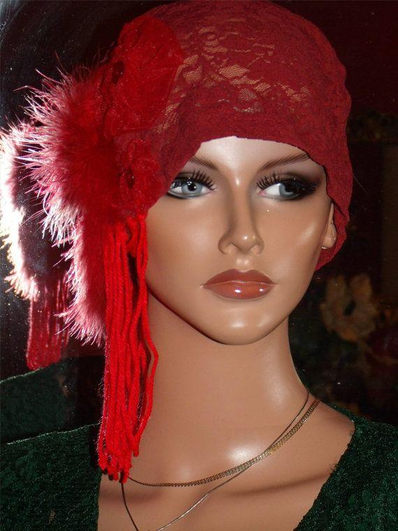 1920s Hat Flapper Hat Cloche Burgundy Lace