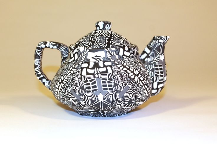 Tea pot made from polymer clay
