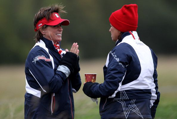 Rosie Jones USA Team Captain Rosie Jones (L) chats with Assistant Captain Sherri Steinhauer during a practice round prior to the 2011 Solheim Cup at Killeen Castle Golf Club on September 21, 2011 in Dunshaughlin, County Meath, Ireland. #SC13 #GoUSA