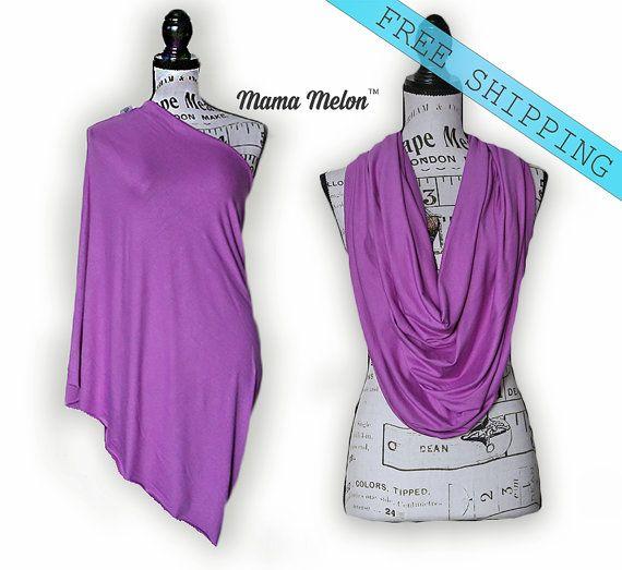 Nursing Cover Nursing Shawl purple Infinity Scarf by MamaMelonCA
