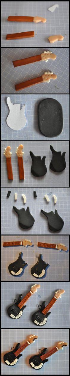Cómo hacer una guitarra eléctrica con pastas moldeables.