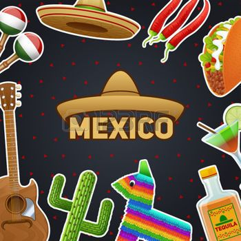 S�mbolos mexicanos y chile sombrero ilustraci�n taco tequila cartel vector photo