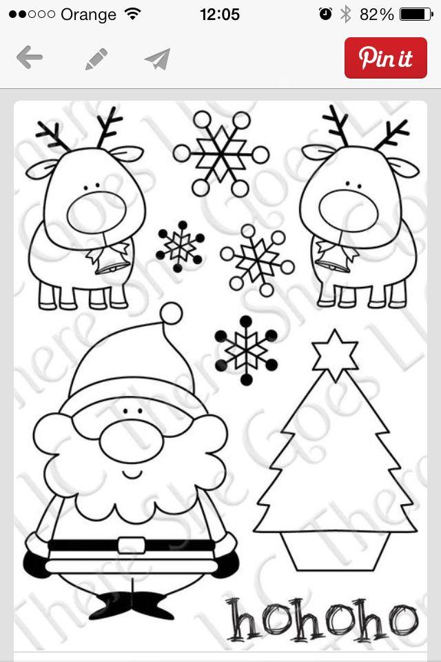 Papa Noel y renos para colorear