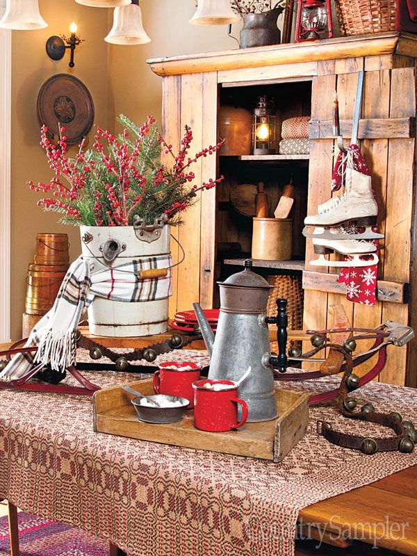 Warm up a centerpiece with winter accessories