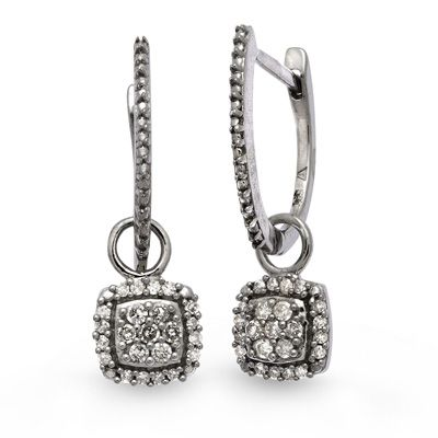 1/5 CT. T.W. Diamond Vintage-Style Drop Earrings in Sterling Silver