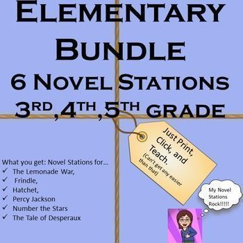 This is an incredible Package. You are getting 6 of my best selling elementary novel stations for a great price: The Lemonade War, Frindle, Hatchet, Percy Jackson,Number the Stars,and The Tale of Desperaux.  Many of these novels are featured on Battle of the Books reading lists.