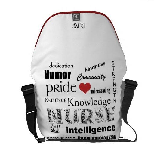 Nurse Pride-Attributes/Red Heart+Initials Commuter Bag
