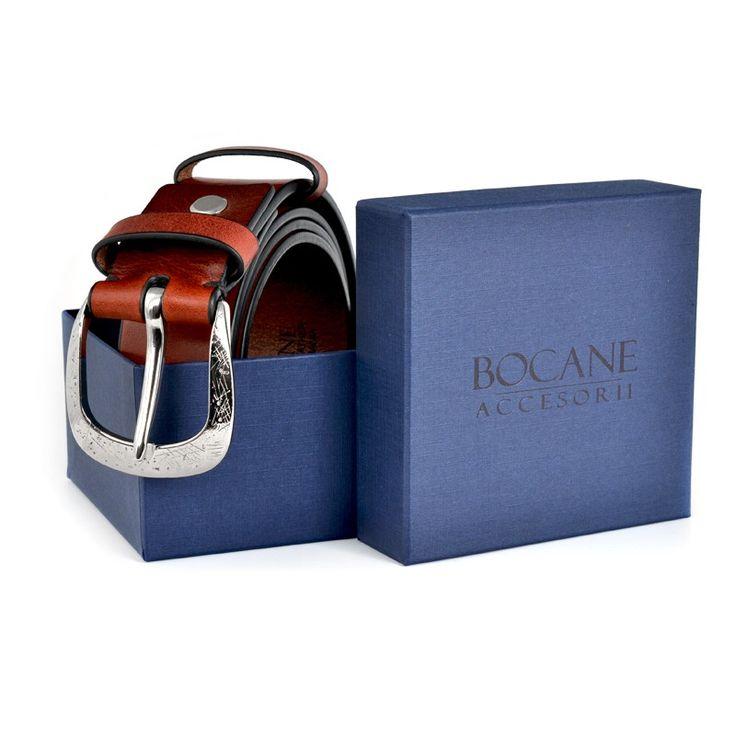 Curea Bocane din Piele Italiana, Rosu Antichizat, pentru Jeans - Bocane