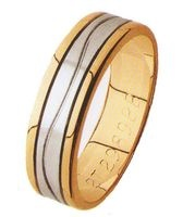2TONE GENTS WEDDING RING, 6mm WIDE WITH GRAIN FINISH WHITE GOLD  CENTRE  SECTION WITH A WAVE LINE